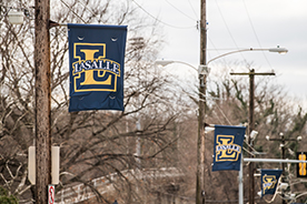 La Salle flags hanging on 20th Street