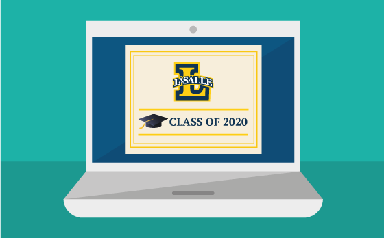 Laoptop illustration with La Salle Logo and Class of 2020 with Graduation cap