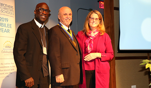 Br. Ernest Miller, Vice President of Mission, DIversity, and Inclusion, Brother Robert Schieler, FSC, '72, the Superior General of the Brothers of the Christian Schools, and Colleen Hanycz, President of La Salle University