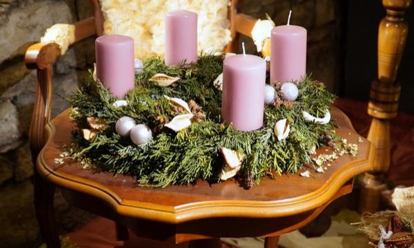 wreath and candles on tabletop